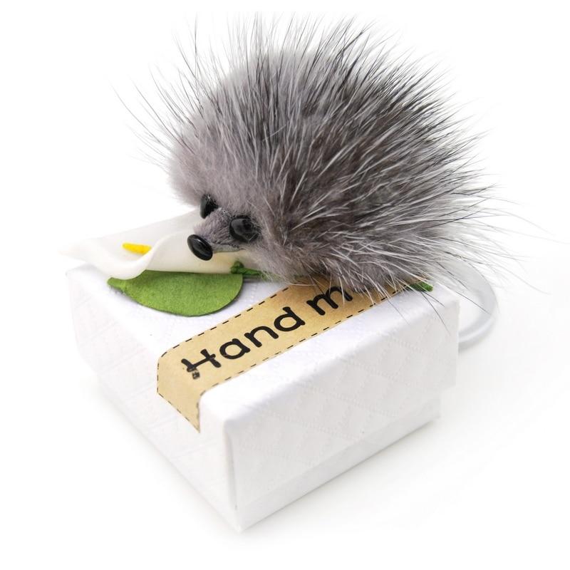 Բնօրինակ Cute Fluffy Ոզնին Keychain Կանանց բշտիկ Բնօրինակը Mink Fur Pompom Key Ring Toys Keyring Doll պայուսակ Charms Car Key Holder