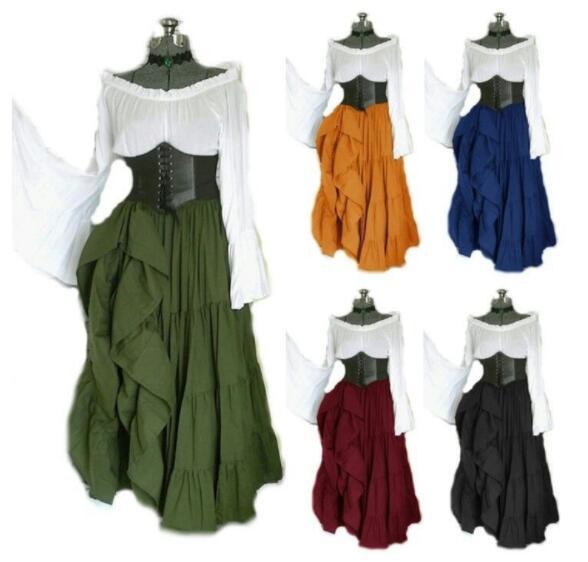 Women Medieval Renaissance Clothing Costume Off Shoulder Crop Top Skirt Asymmetric Set For Ladies Plus Size S XXL