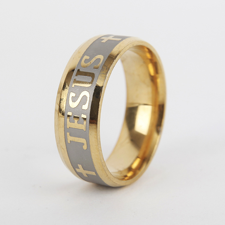 High quality 316L Titanium Steel Gold Silver Color Jesus Cross Letter Bible Finger Ring For Women Men Wedding Band Jewelry