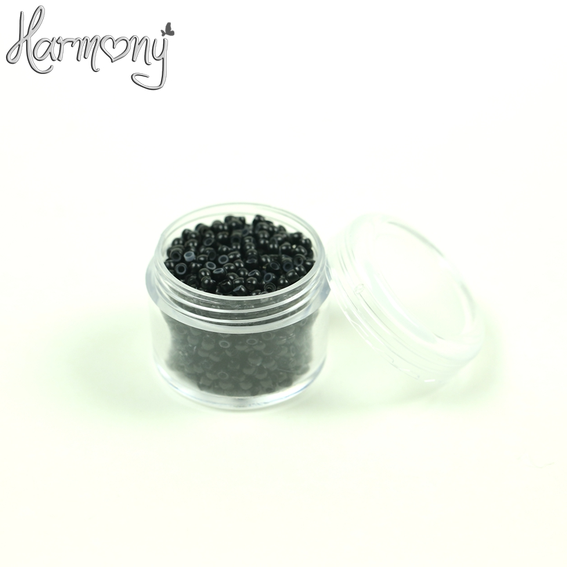Free shipping!! (7000pcs 2.9*1.6*2.0 1# black)  silicone nano rings, nano rings beads with silicone lined