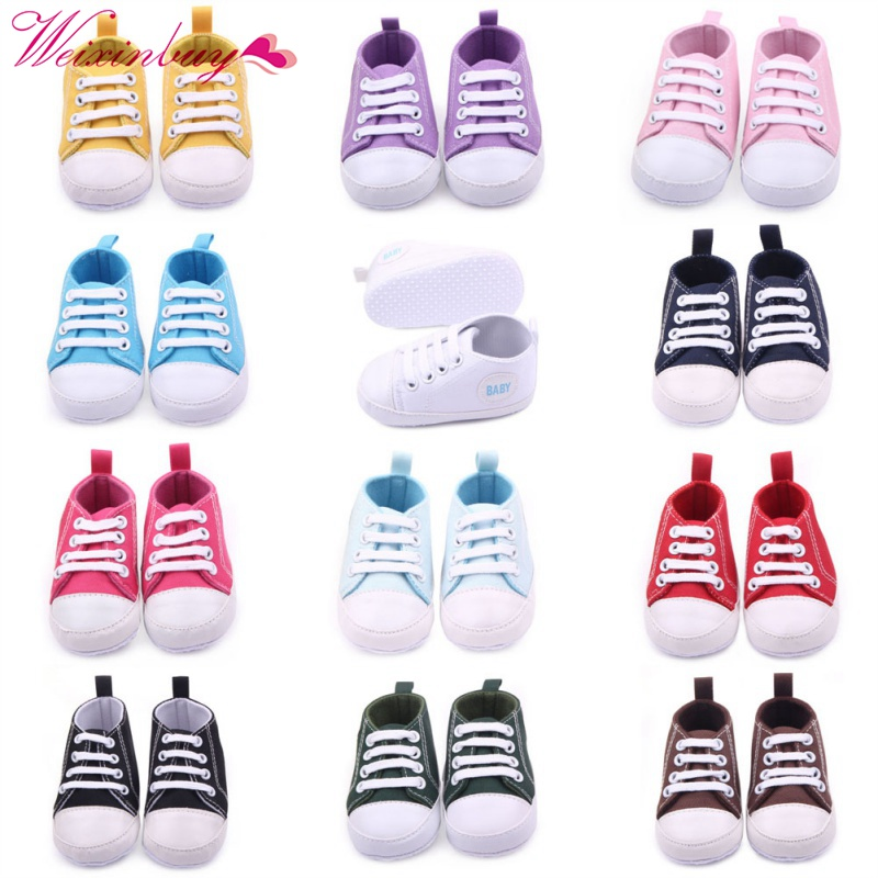 Canvas Classic Sports Sneakers Newborn Baby Boys Girls First Walkers Shoes Infant Toddler Soft Sole Anti-slip Baby Shoes S3