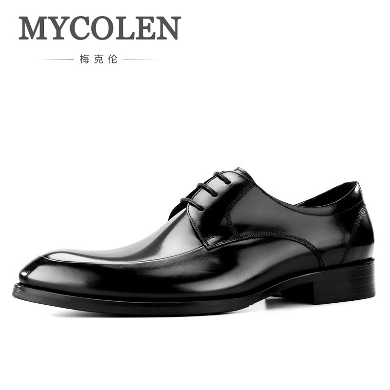 MYCOLEN 2018 Brand Men Flats Fashion High Quality Genuine Leather Shoes Mens Lace Up Business Dress Derby Shoes For Scarpe high quality men flats casual new genuine leather flat shoes men oxford fashion lace up dress shoes work shoe sapatos