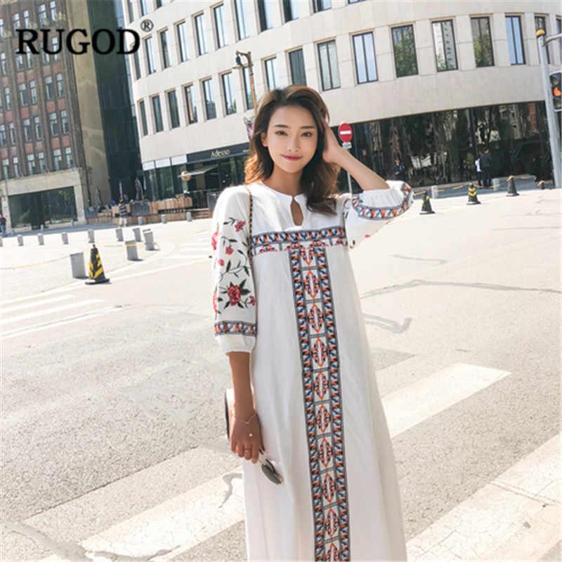 RUGOD カジュアルホリデーインディーロング flok ドレス女性手首スリーブストレートエスニック女性 cloting 白赤プルオーバーボールドレス ladi