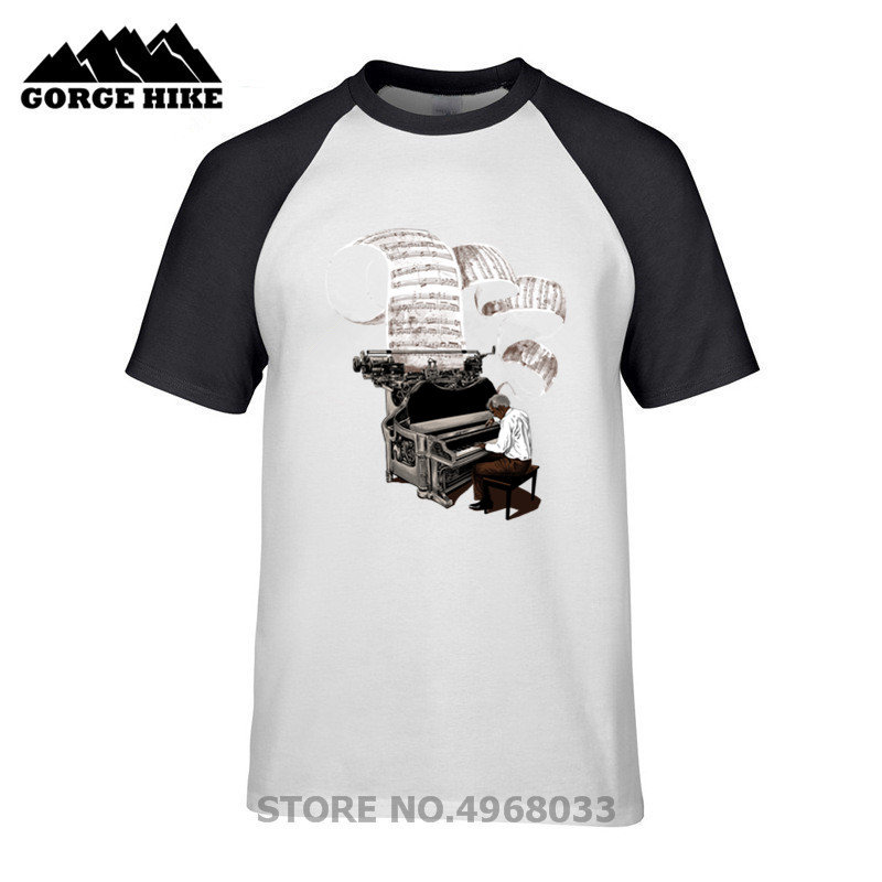 New Distressed Design Composer Music Note Piano Pianist T-Shirt Men Funny Short Sleeve Valentine's Day Custom Party team T Shirt image