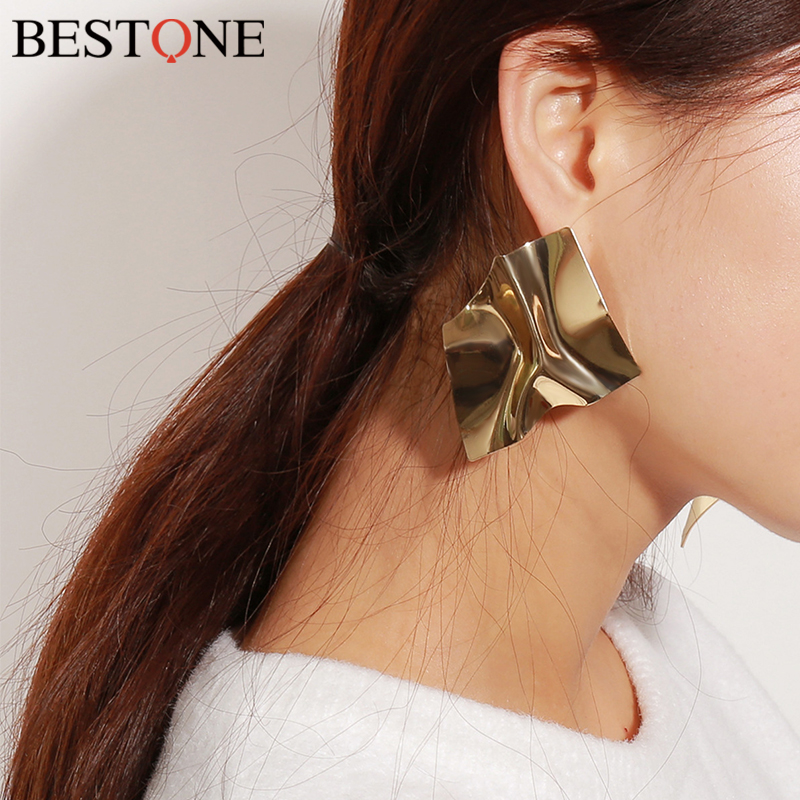 BESTONE 2018 New Earrings for Women Geometric Irregularity Jewelry Fashion Tide Mirror Earrings Girls Birthday Wedding Gift