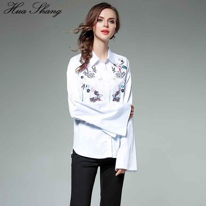 2f5d0a0360 Hua Shang Fall Fashion Cotton Linen Women Long Sleeve White Shirt  Embroidery Floral Lace Up Tie Flare Sleeve Female Shirt Blouse-in Blouses    Shirts from ...