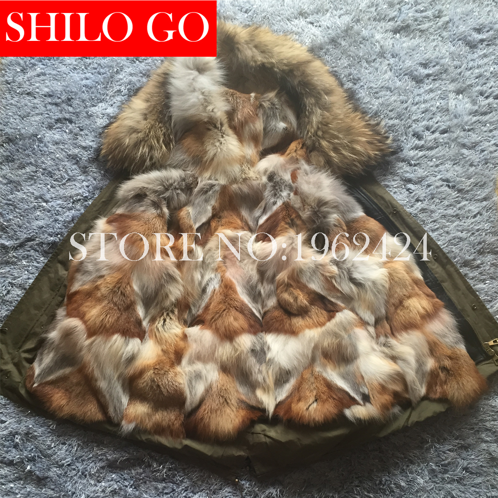 2016 New Women Winter Army Green Black Jacket Coats Thick Parkas Plus Size Real Raccoon Wolf