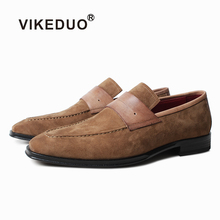 VIKEDUO Fashion Summer Suede Loafers Shoes Mens Genuine Leather Handmade Square Footwear Mans Casual Driving Wedding Male
