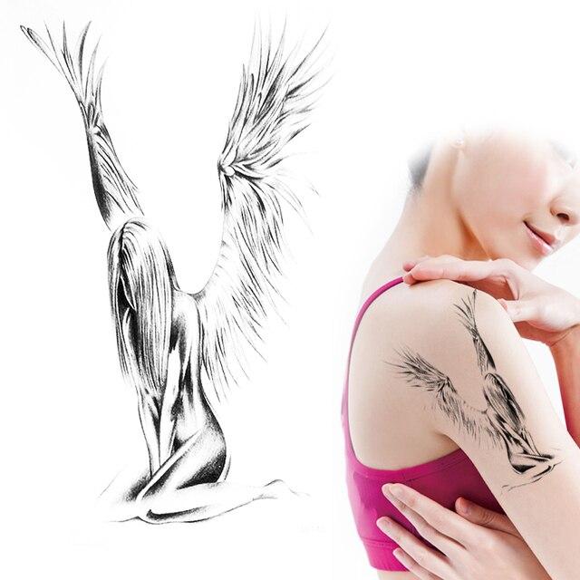 Naked girls tattoo angel
