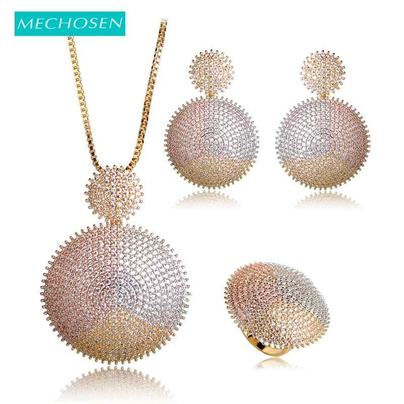 MECHOSEN Luxury Cubic Zirconia Round Big Pendant Necklace Earrings Ring Set  Women Bridal Wedding Jewelry Set 6ade1302de16