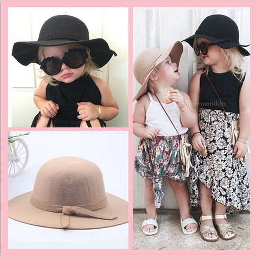 Baby Wool Felt Hat Winter Girls Gorgeous Bowknot Big Brim Floppy Hats Cap  Kids Accessories Children 72821065696