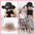 Feltro De Lã Chapéu do Inverno do bebê Meninas Lindo Bowknot Grande chapéu de Aba disquete Chapéus Cap Crianças Acessórios Crianças Fedoras Tampas Casuais 8 cores