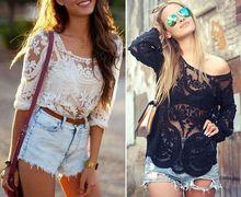 Hot Sale Hollow Out Regular Solid Novelty Women Shirts Korea New Sleeve Lace Shirt Women Blouses Crochet Blouse 3 Size