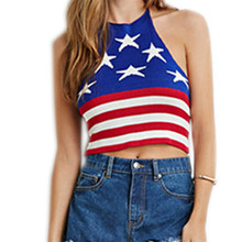 S-L Rock and Roll Sexy Red White Blue Glam Tank Tops Women's Fashion American Flag USA US Crochet Sweater Vests цена