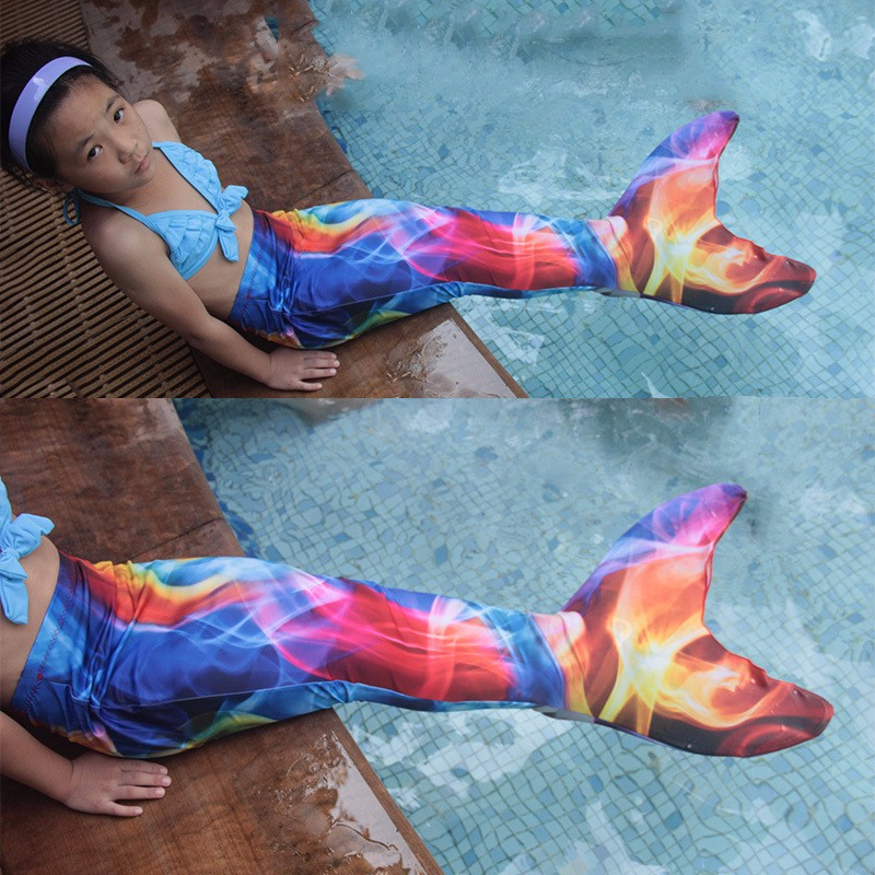 2018 nouveau costume de queue de sirène fantaisie Costume d'halloween pour les femmes enfants filles queue de sirène avec monofin