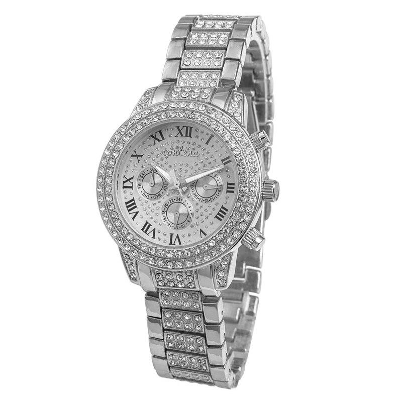 Prix pour Montre Femme Top Marque De Luxe De Mode Dames Femmes Strass Plein Logo Montres Rose Or Argent Quartz Relojes De Marca Mujer