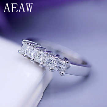 AEAW 5x2mm Princess Cut Certified Moissanite Engagement Band Solitaire Ring in 925 Sterling Silver or 14K White Gold For Women - DISCOUNT ITEM  10% OFF All Category