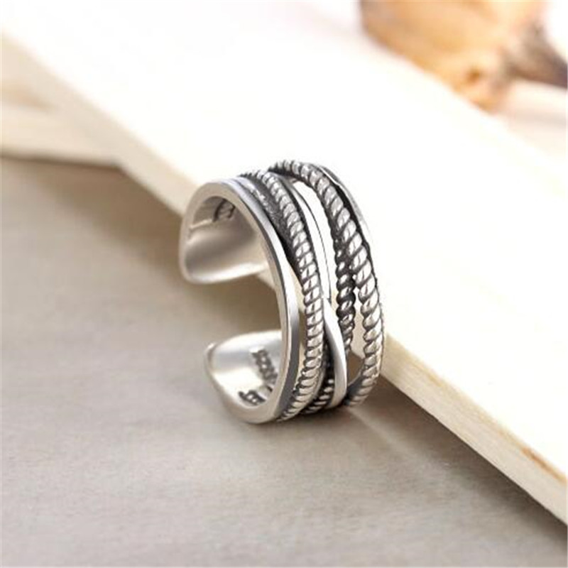 SHNCA Brand Vintage 925 Sterling Silver Twisted Ring Thai Silver Geometric Open Rings For Women Silver 925 Jewelry Anillos Y043 vintage faux pearl twisted cuff ring for women
