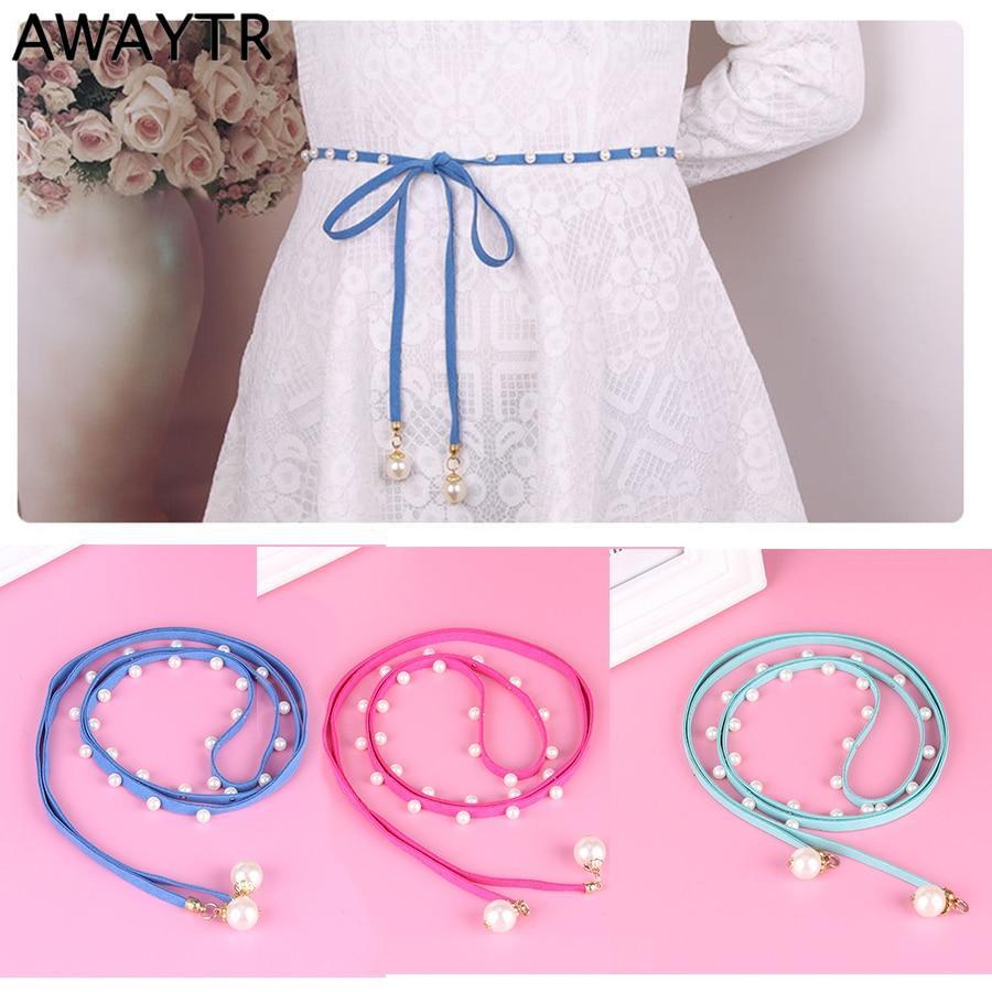 100% Wahr Awaytr Mode Einfache Gürtel Für Frauen Damen Perle Kleid Gürtel Lange Taille Kette Dekorative Kleid Verknotet Kleine Gürtel Für Mädchen 2019 Offiziell