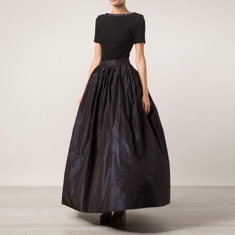 2017 Stylish Long Taffeta Skirt Custom Made Saia Big Swing Women Ball Gown Maxi Skirt Pleated Banquet Skirt American Apparel