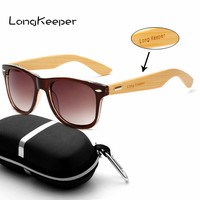 LongKeeper Bamboo Sports Sunglasses Mens Vintage Cycling Glasses Stylish Multi Color Eyewear Oculos Ciclismo Gafas