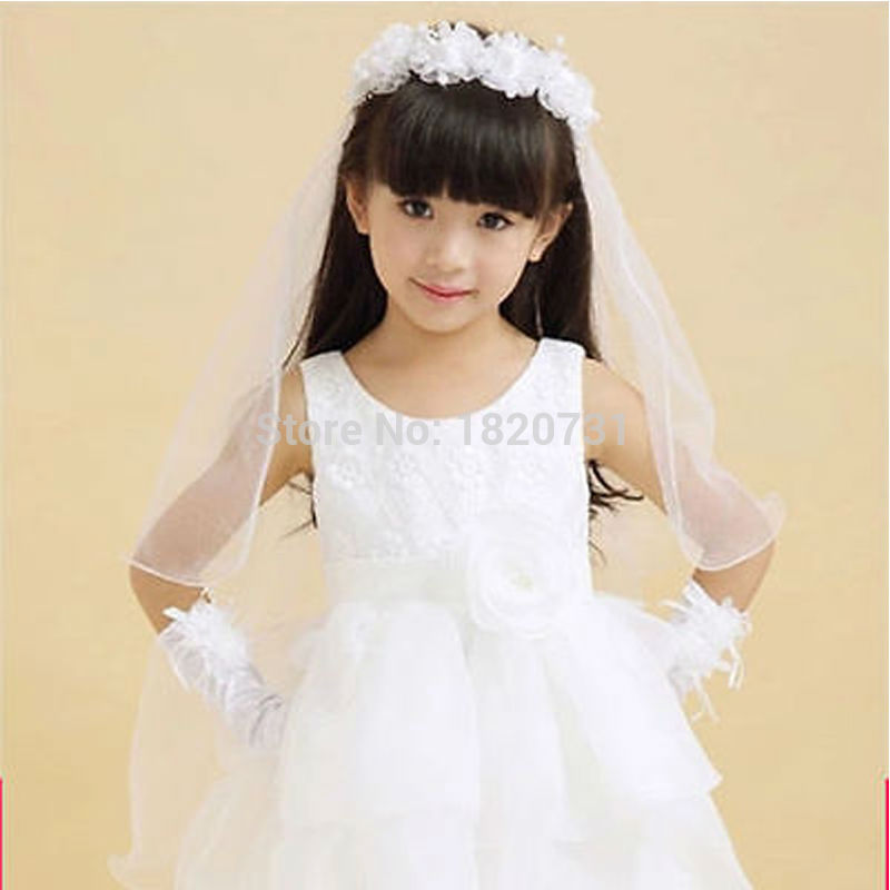 2019  White And Pink Flower Girl's Bridal Veil With Wreath Wedding Veil For Girls Cheap Price