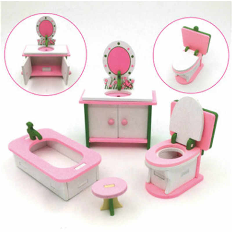 3D Wooden Miniature Bedroom Miniature Furniture Set Cute Mini Doll House Assemble Kits Gift Kids Role Pretend Playing Toy Gift