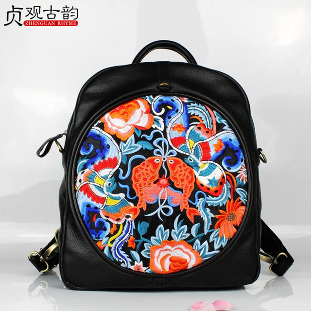 New the First Layer Cowhide Backpack Bag Handmade Embroidery Women Travel Bagpack National Casual Large Circular School Hand Bag