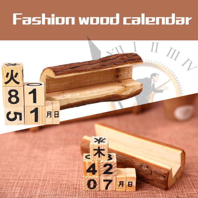 Vintage Wooden Desktop Perpetual Calendar Crafts Furnishing Articles Home  Decor DIY