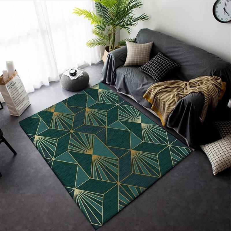Fashion Modern Metal Golden Dark Green Carpets Geometric Bedroom Area Rugs Livingroom Carpet Parlor Tapete Decorative Floor Mats