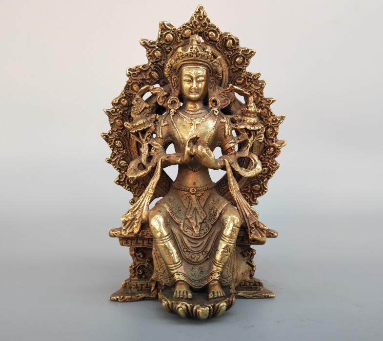 Chinese Pure Brass Sit Guanyin Buddha Statue