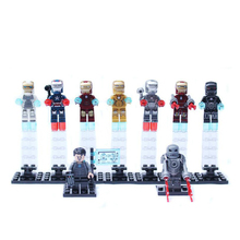 9PCS/lot Marvel Iron Man Original Blocks Action toy Figures Decool 9 style Model Building blocks sets gift for boy kids toys