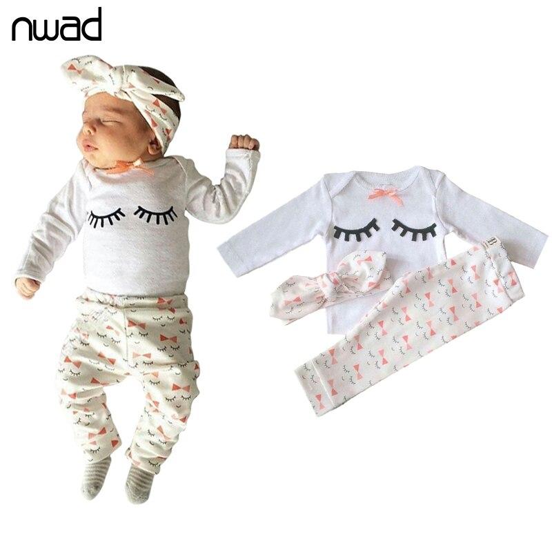 NWAD Neugeborenes Mädchen Sommer Kleidung Set wimpern druck fliege Baby-kleidung Mädchen Outfit Tops + Hose + Stirnband 3 stücke sets FF223