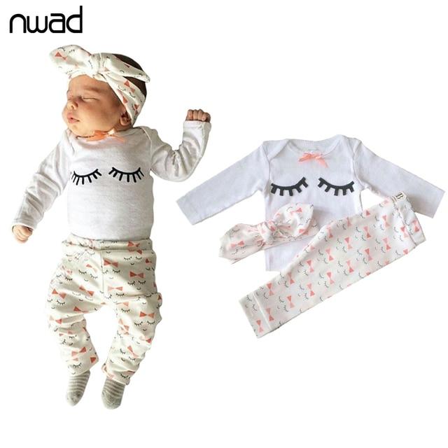 Babykleding Print.Nwad Pasgeboren Baby Meisje Zomer Kleding Set Wimper Print Bow Tie