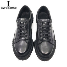Handmade Fashion Shoes Luxury Brand Men flats 100% genuine soft leather casual Footwear flat lace up Breathable Men Sneakers 410 2018 autumn new man breathable sneakers high quality leather luxury men sneakers streetwear casual men lace up sneakers footwear