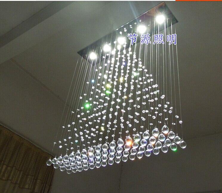 100 см современная люстра потолочный светильник Освещение светодиодный Cystal Мяч Висит Провода Квадратный Кулон Легкие капли дождя Шторы прис