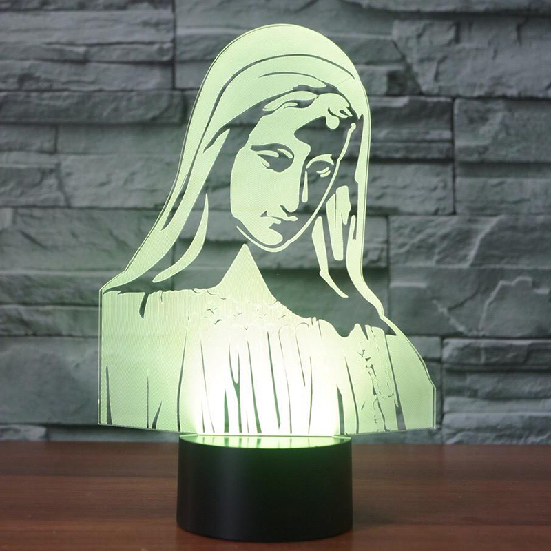 Новинка Девы Марии светодиодный ночник 7 цветов Изменение 3D настольная лампа для детей  ...