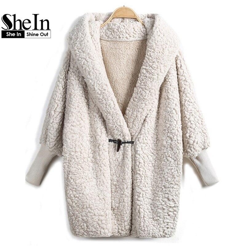 SheIn 2017 Hooded Outwear Winter Newest Fashion Design Women's Apricot Batwing Long Sleeve Loose Streetwear Hoody White Coat