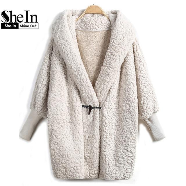 SheIn 2016 Hooded Outwear Winter Newest Fashion Design Women's Apricot Batwing Long Sleeve Loose Streetwear Hoody White Coat