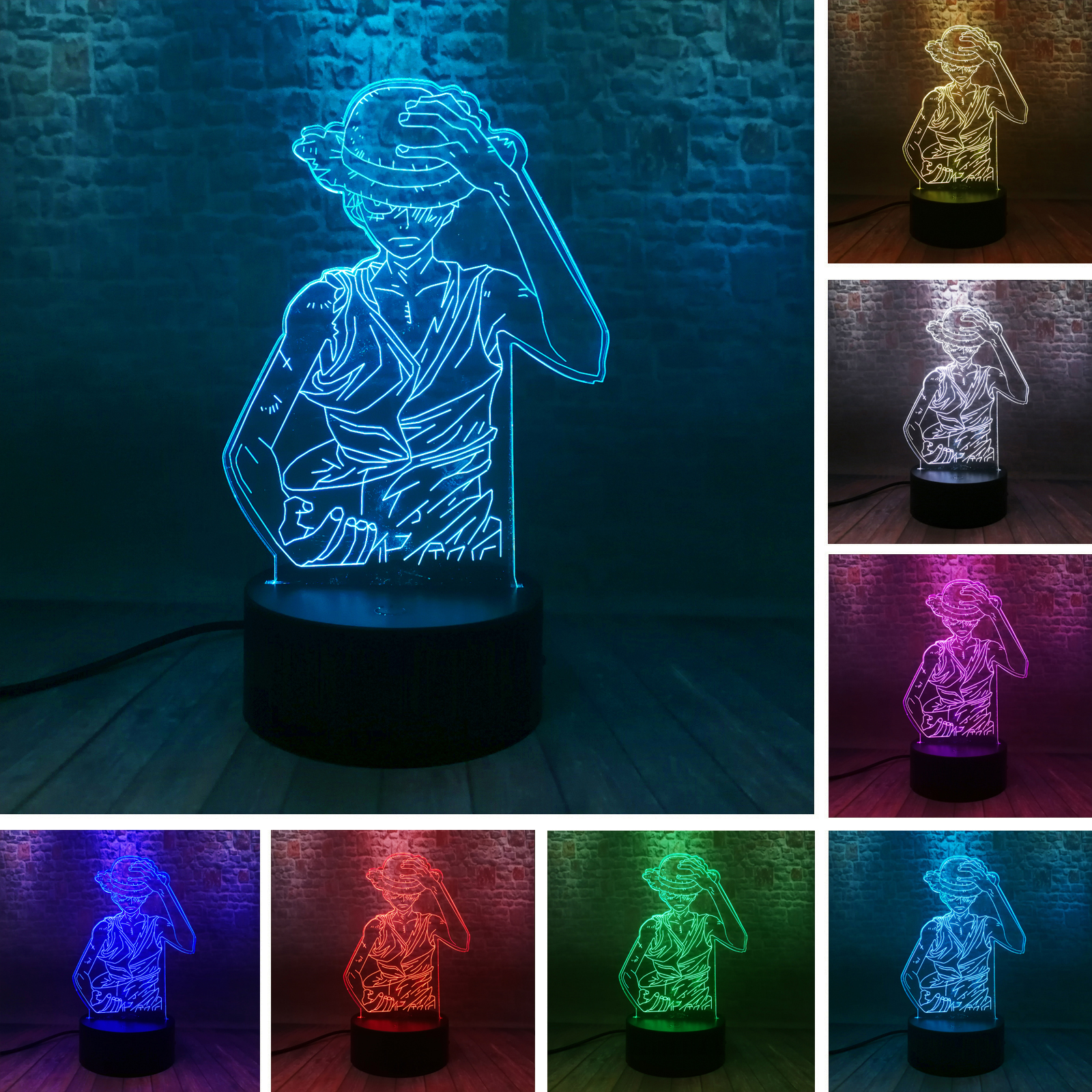 Anime One Piece Monkey·D·Luffy 7 Color Safe Night Light Boys Bedroom Decor Fixtures Lamp Child Kids Birthday Gifts Drop Shipping