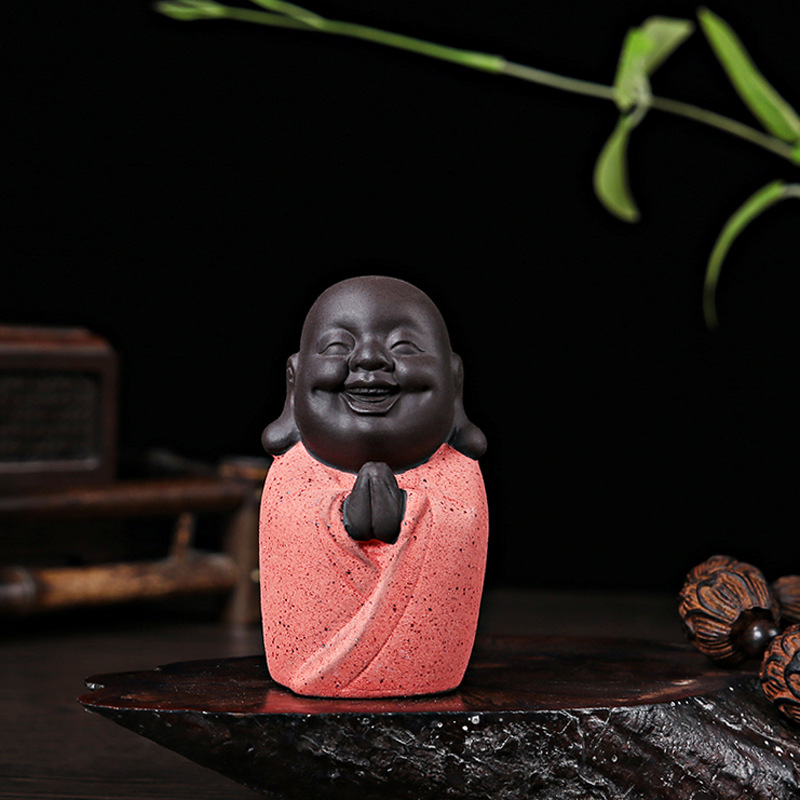 Tea Pets Happy Buddha Lucky Maitreya Monk Caisha Boutique Zisha Tea Accessories Office Home Decoration Crafts Small Figurines