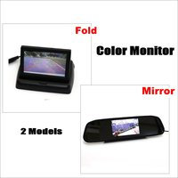 Car Rearview Mirror Monitor Folded Screen Display HD TFT LCD NTSC PAL Color TV Security System