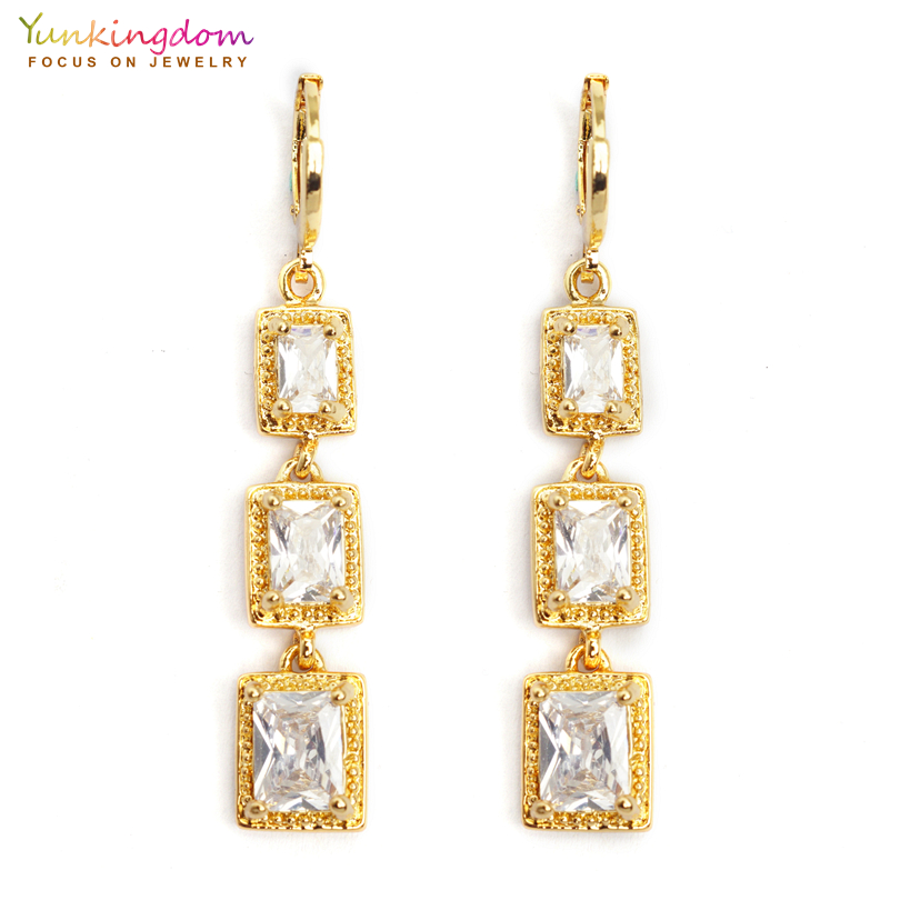 Yunkingdom 3pcs square cz crystal long drop earrings for women fashion wedding jewelry gold color dangle earring K2183