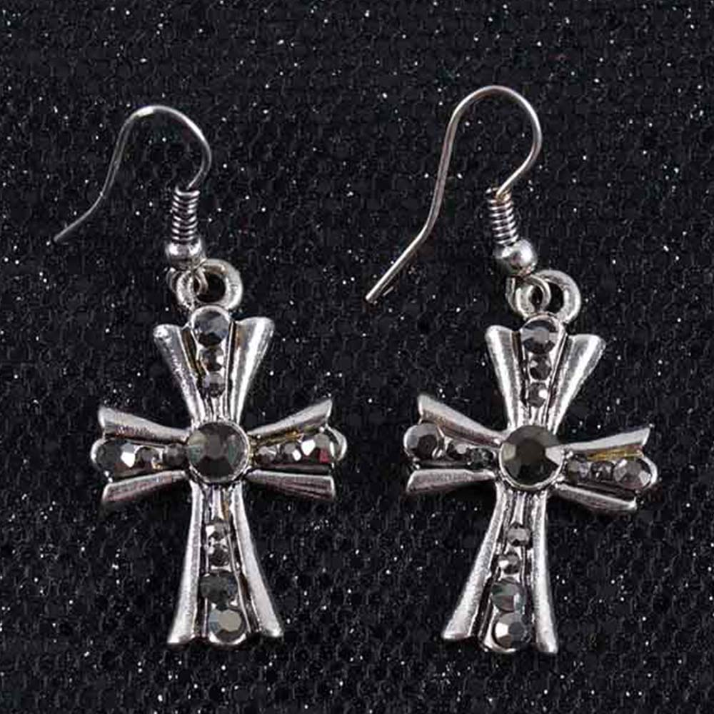Women Lady Classic Cross Drop Earring With Rhinestone High Quality Jewelry  For Dance Party Earrings(