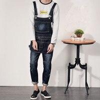 Detachable Bib Designer Men Denim Overalls Garment Washed New 2017 Mens Bib Jeans Overall Jeans Distressed