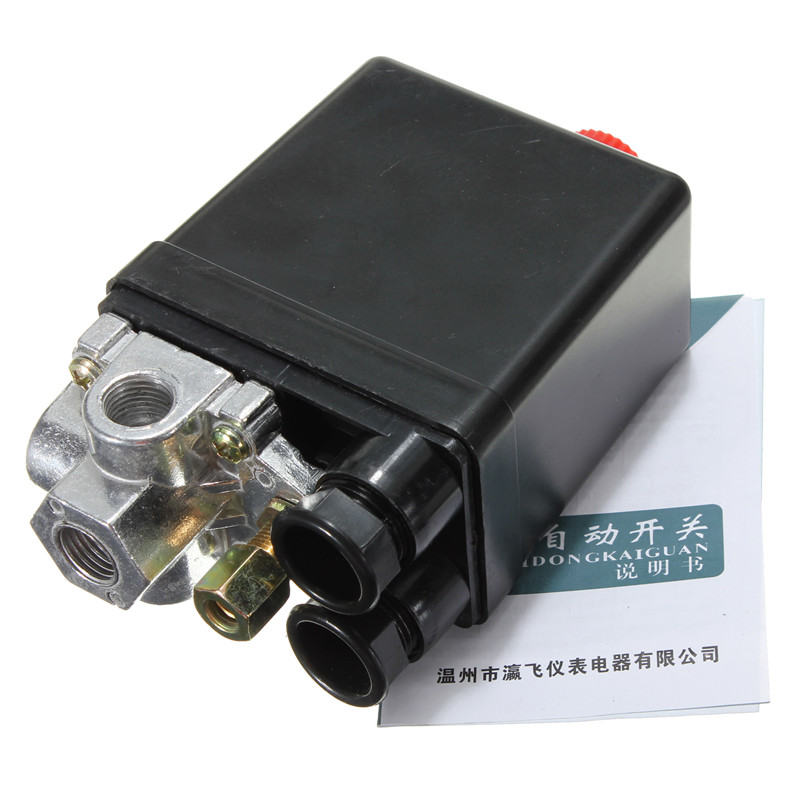 90-120PSI Heavy Duty Air Compressor Pressure Control Switch Valve 12 Bar 20A AC 220V 4 Port 12.5 x 8 x 5cm Best Price vertical type replacement part 1 port spdt air compressor pump pressure on off knob switch control valve 80 115 psi ac220 240v