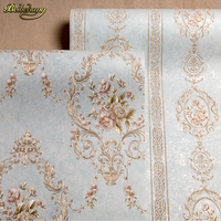 beibehang High grade European non woven bedroom bedside background wall wall paper bedroom 3D relief embossed wallpaper AB