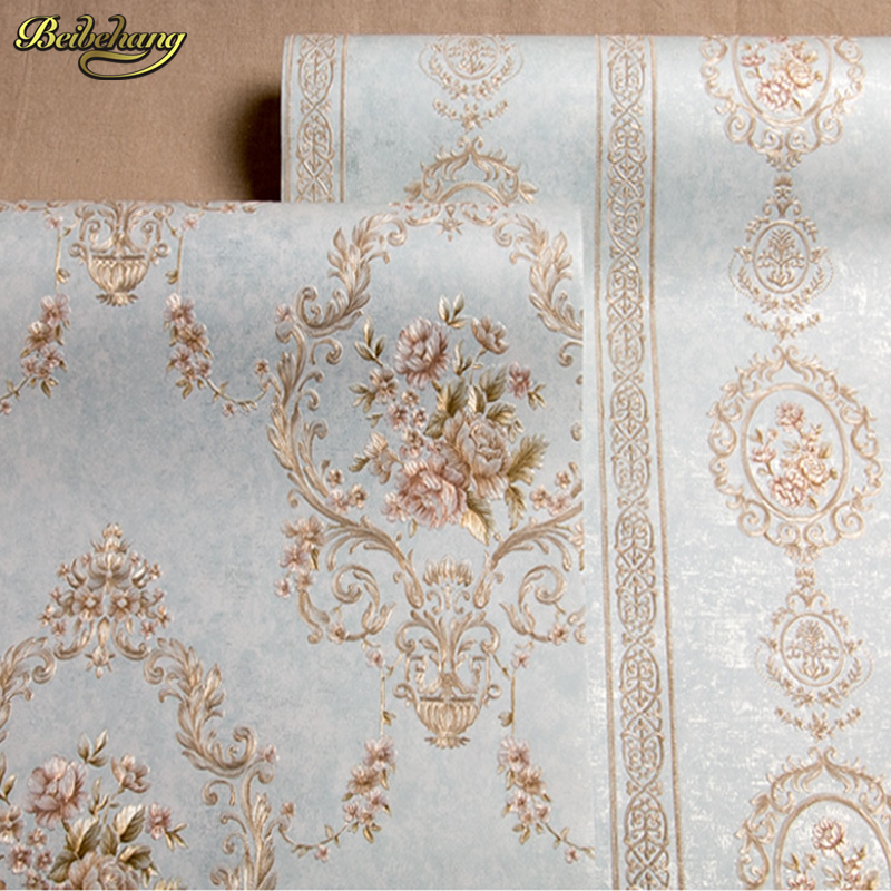 beibehang High - grade European non - woven bedroom bedside background wall wall paper bedroom 3D relief embossed wallpaper AB beibehang high atmospheric non woven