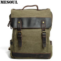 Men S Casual Daypacks Vintage Canvas School Backpack Male Designer Military Shoulder Travel Bag Large Capacity