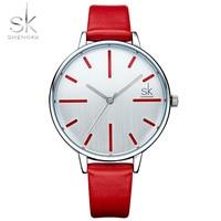 Shengke Luxury Women Watches Brand Fashion Leather Ladies Clock Watch Wristwatch Women Quartz Montre Femme 2018
